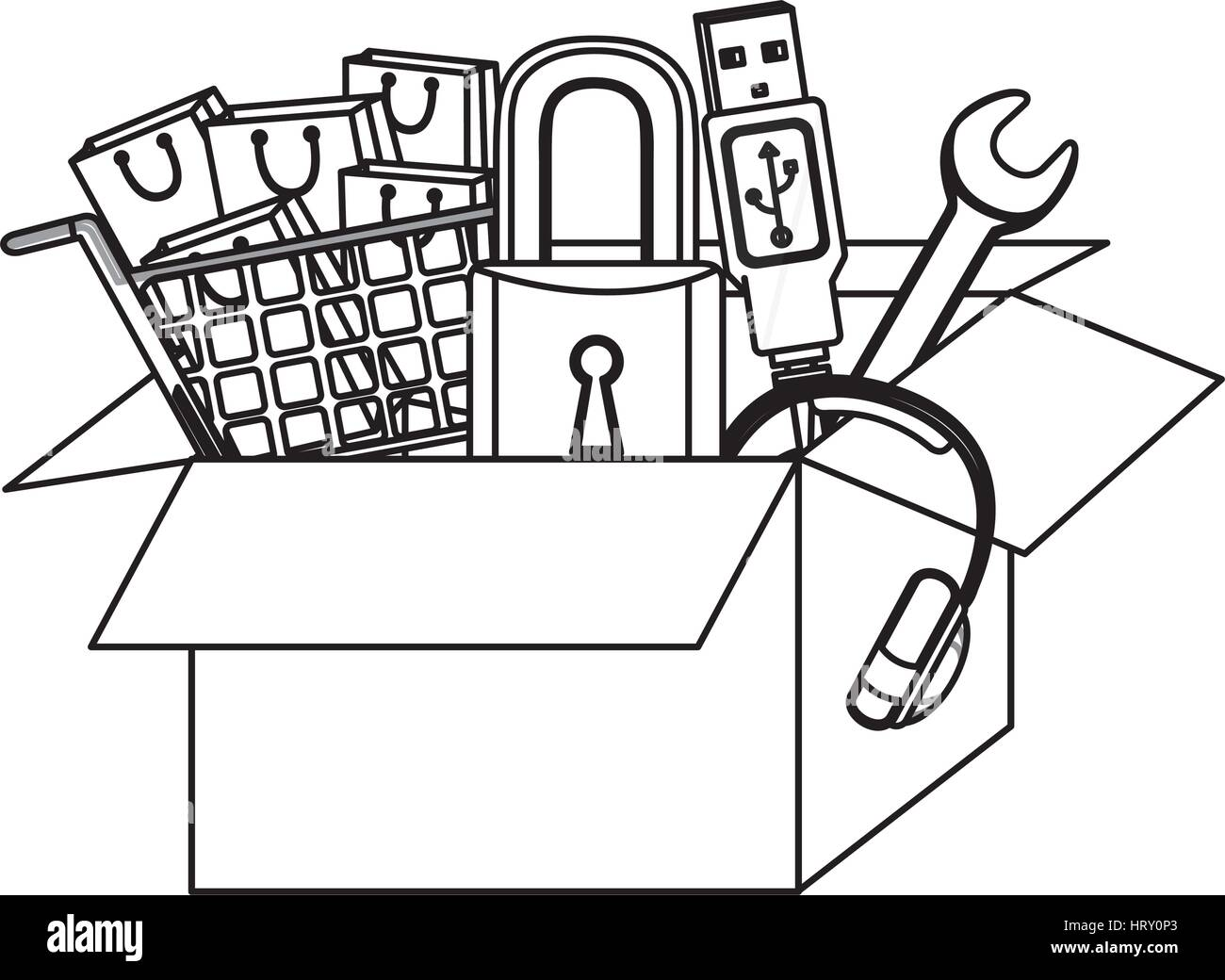 monochrome contour with box obsolete objects - Stock Image