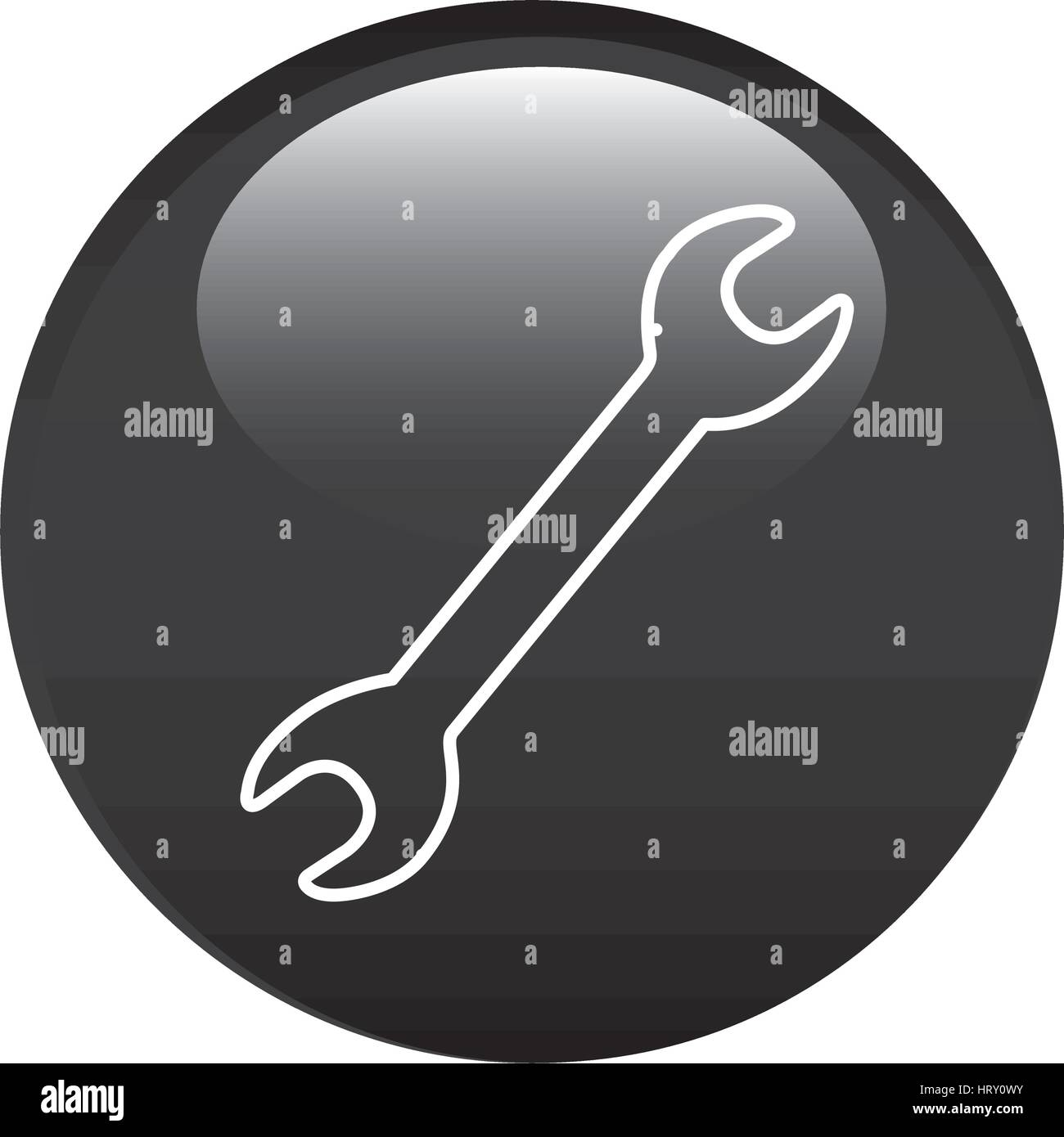 black circular frame with wrench tool icon Stock Vector