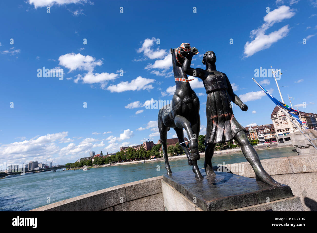 Sculpture of Amazon with horse by artist Carl Nathan Burckhardt, Mittlere Bruecke over the Rhine River, Basel, Switzerland - Stock Image