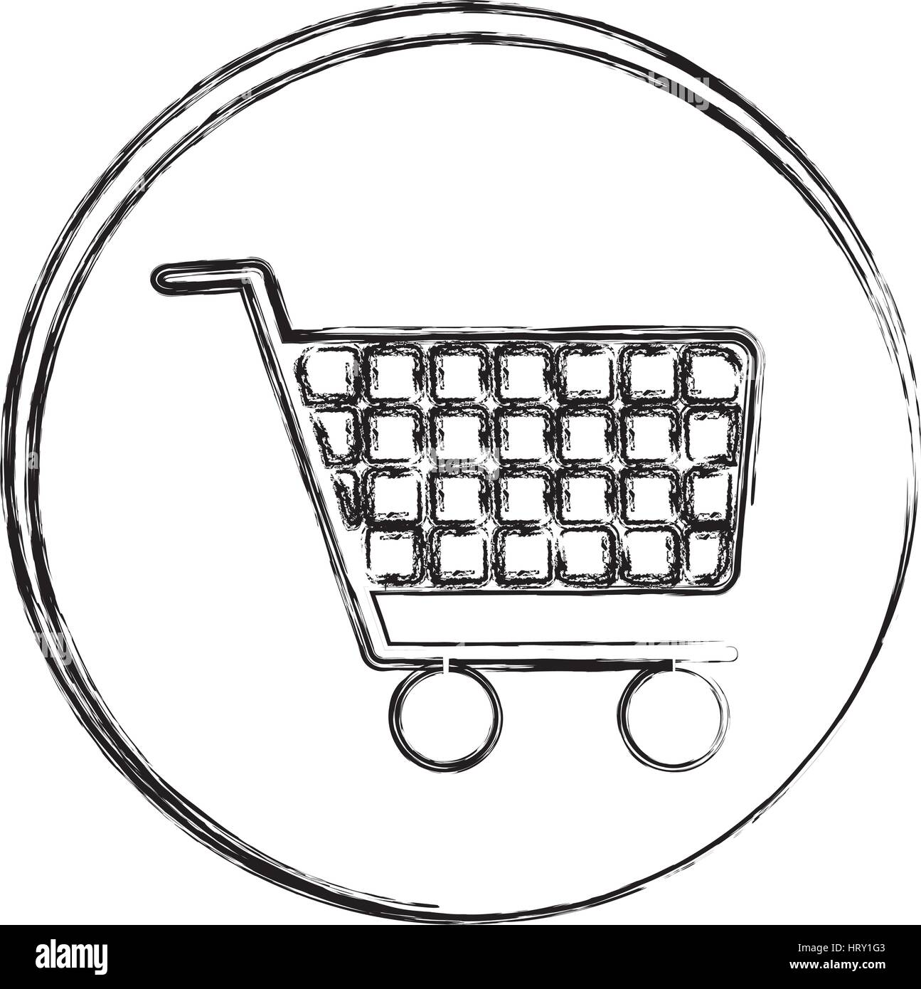 blurred silhouette circular frame with shopping cart icon - Stock Image