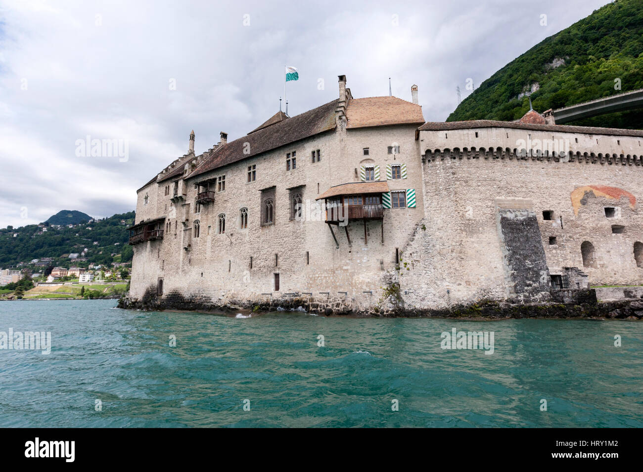 Chillon Castle on Lake Geneva (Lac Léman) from the Steam boat  , Veytaux, 	Switzerland - Stock Image