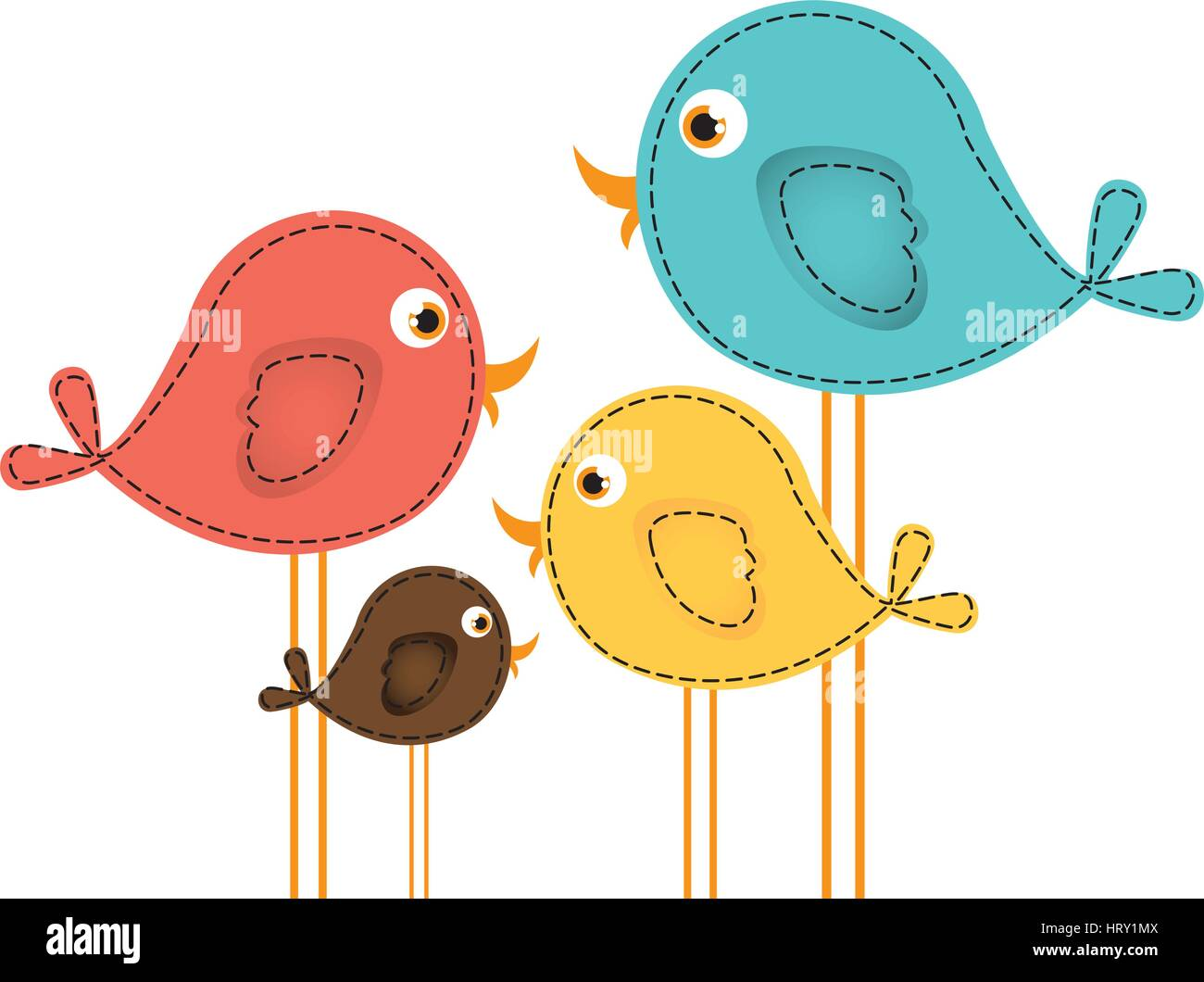 colorful cute cartoon birds set Stock Vector