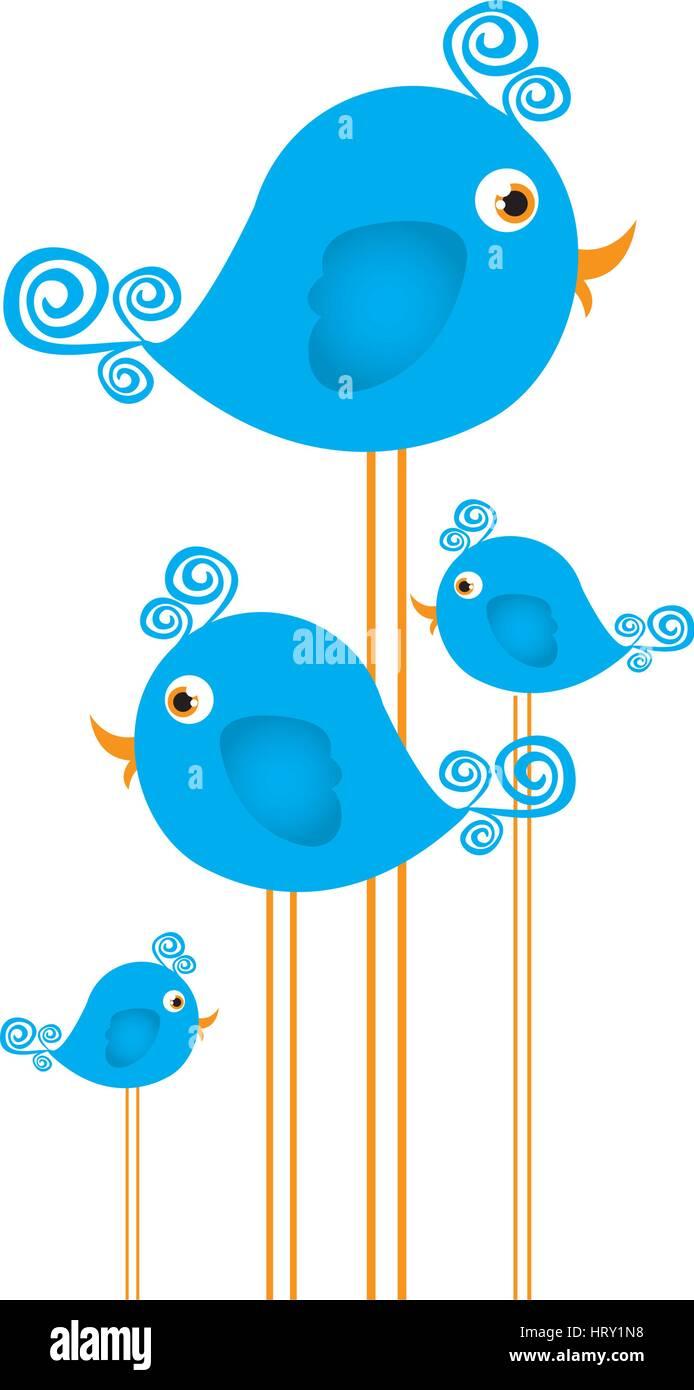 blue cute cartoon birds set with swirl feathers Stock Vector