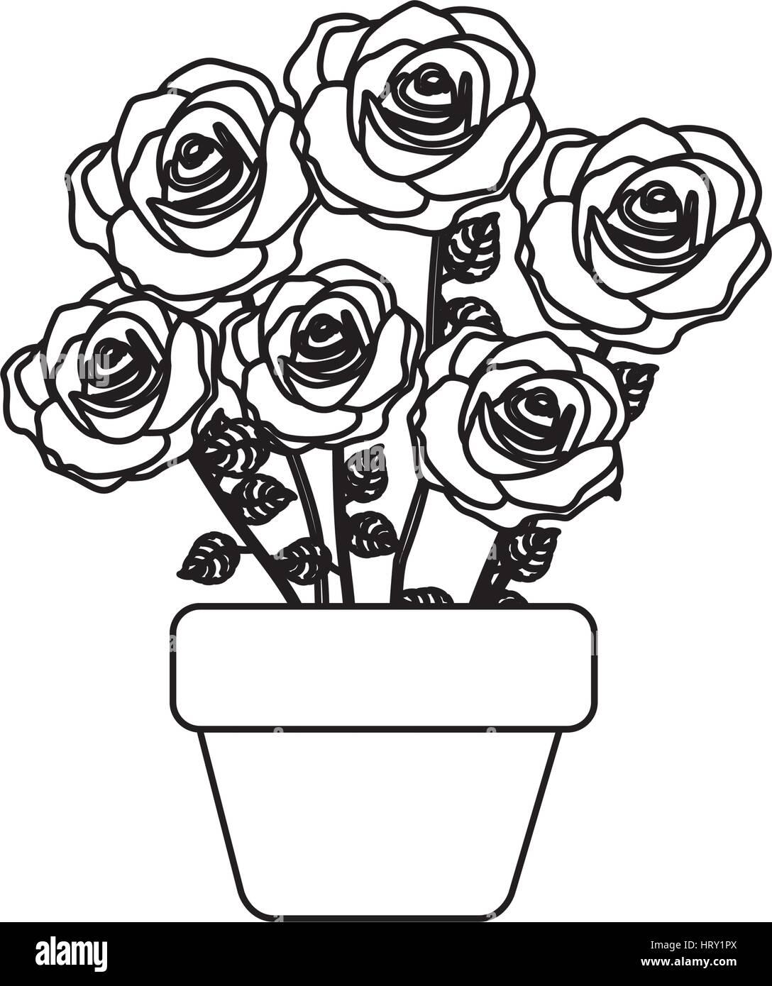 Rose Drawing Flower Pot Rose Drawing