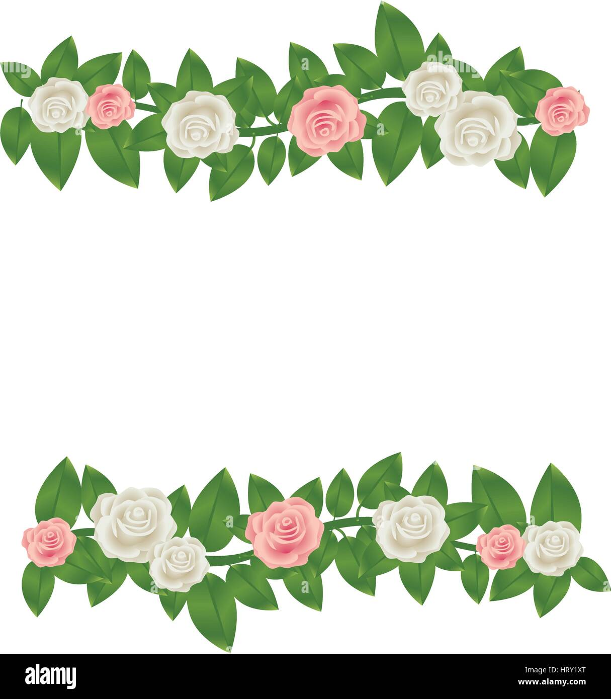 Colorful Border Crown Of Leaves With Roses Floral Design Stock Vector Image Art Alamy