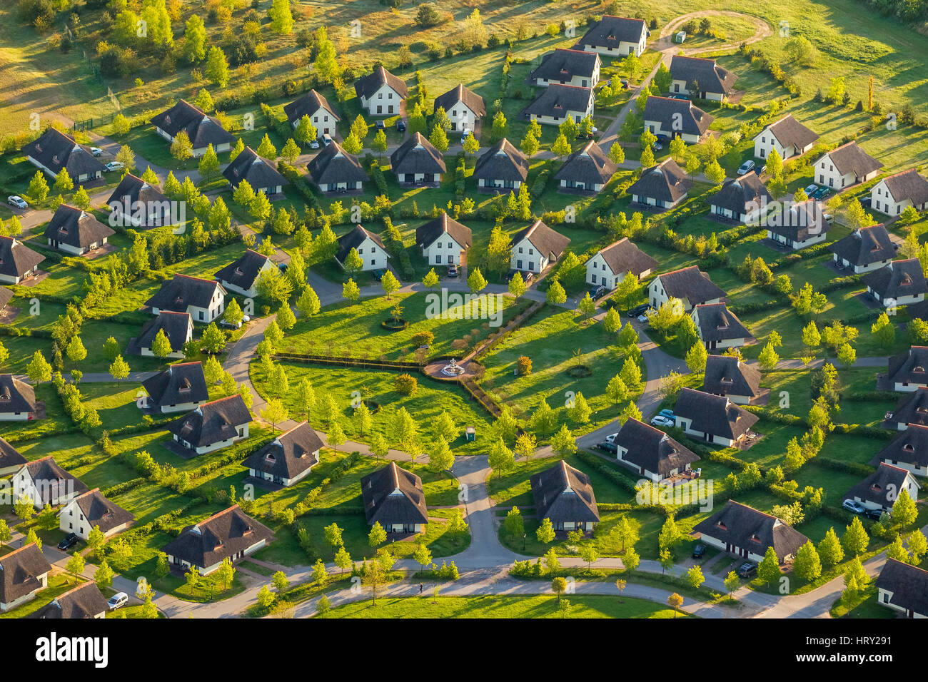 Van der Valk Ressort Linstow with scale in county Apartments, round settlements, designer settlement, cottages, - Stock Image