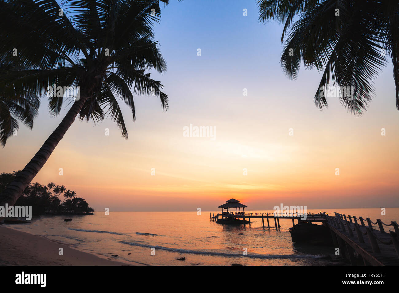 Tropical Beach Background Beautiful Sunset Landscape With Silhouettes Of Palm Trees Vacation