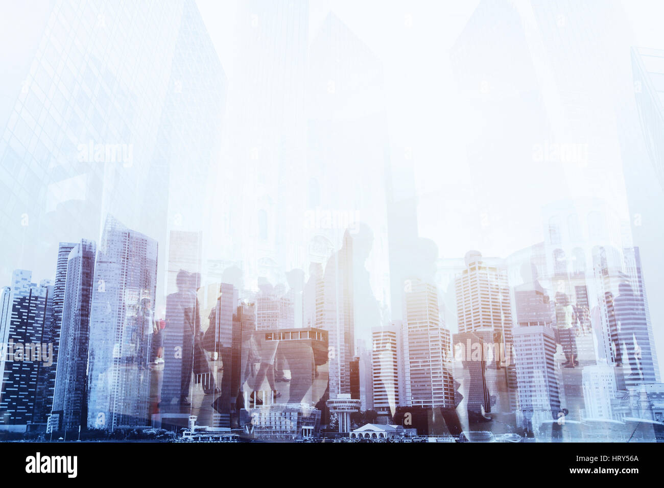 double exposure of business people walking on the street of modern city, urban lifestyle background - Stock Image