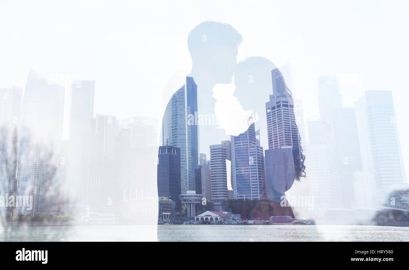 love in big city, couple silhouette double exposure background, man and woman relationships concept - Stock Image
