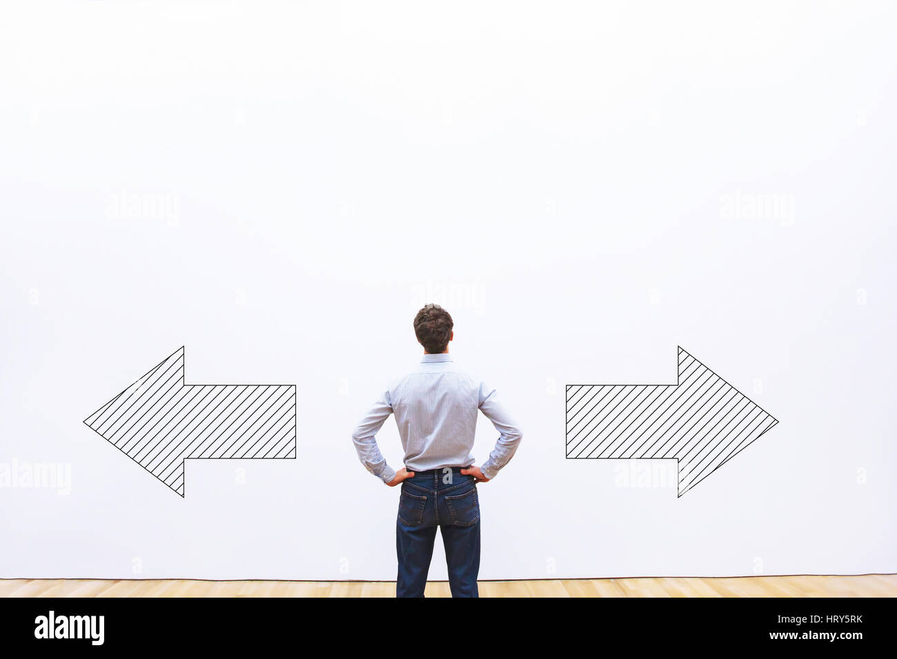 decision making, choice or doubt concept, businessman thinking and choosing direction,  business strategy - Stock Image
