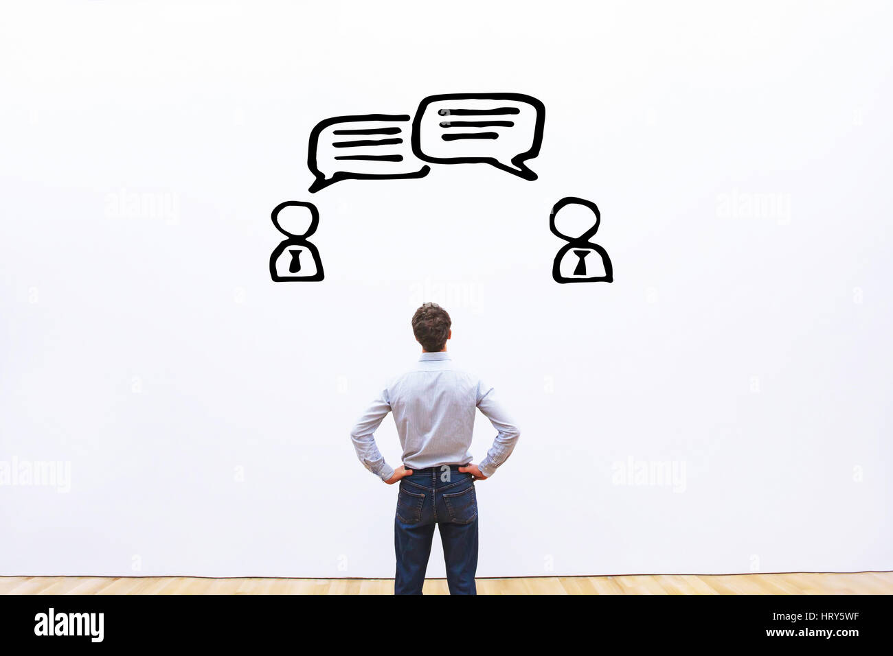 negotiation, dialog or dispute concept, discussion of business people with different opinions, sketch - Stock Image