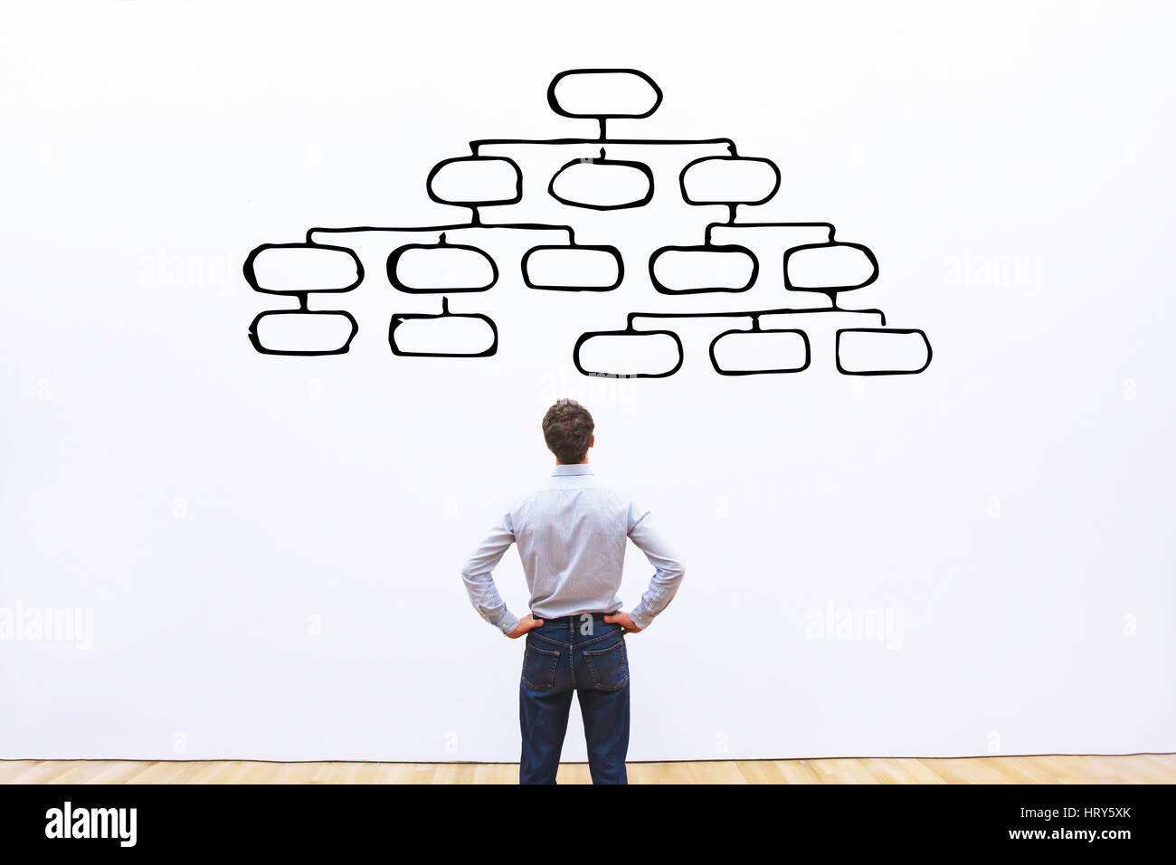 mindmap concept, business man looking at the scheme of hierarchy, management of organization, organigram - Stock Image