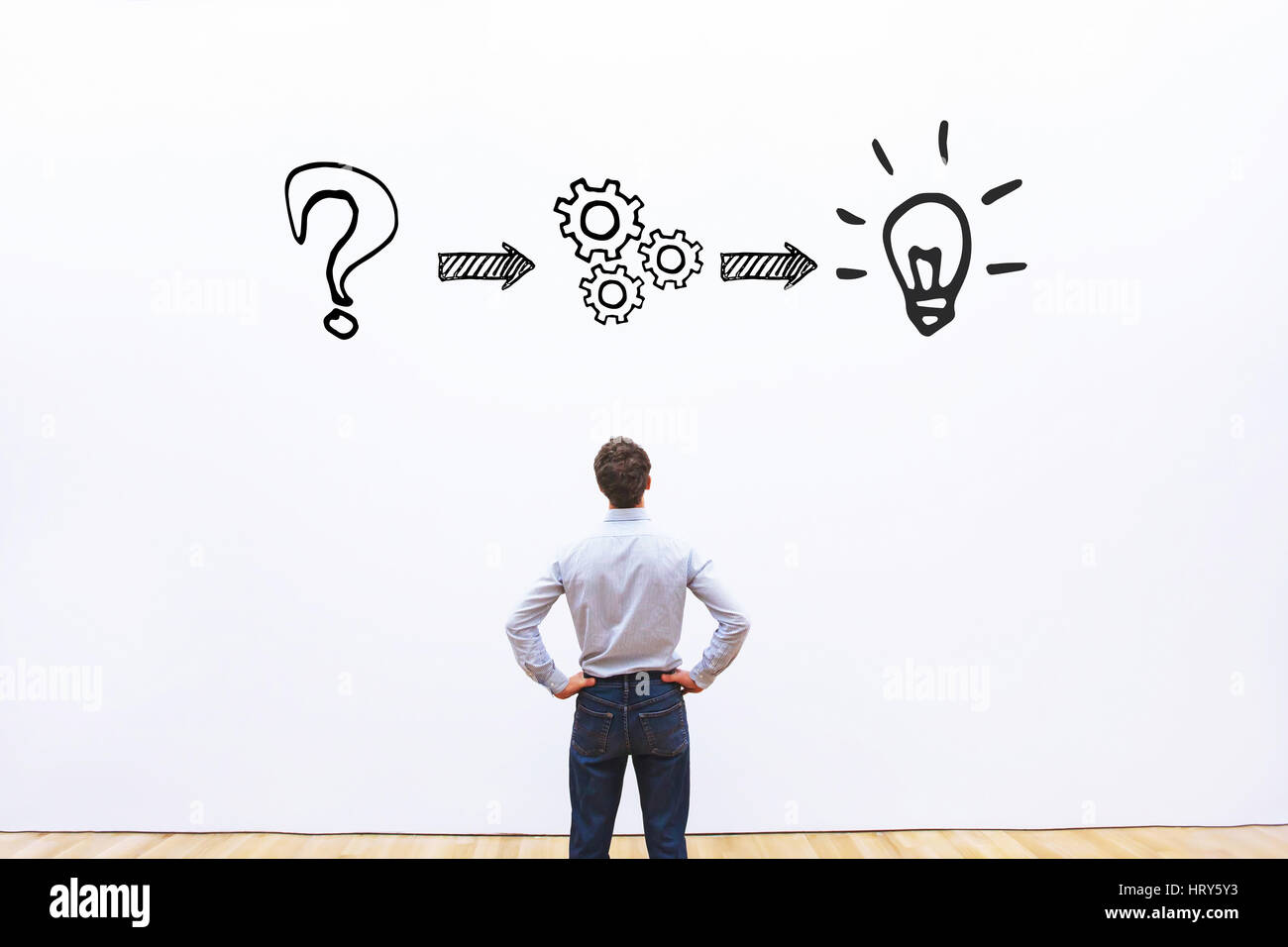 thinking or problem solving business concept - Stock Image