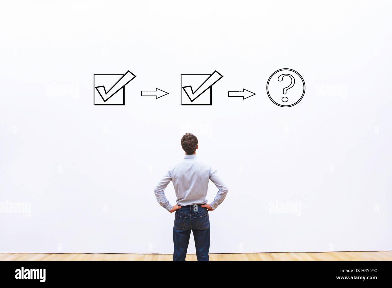 business process workflow concept, question about next step, flowchart - Stock Image