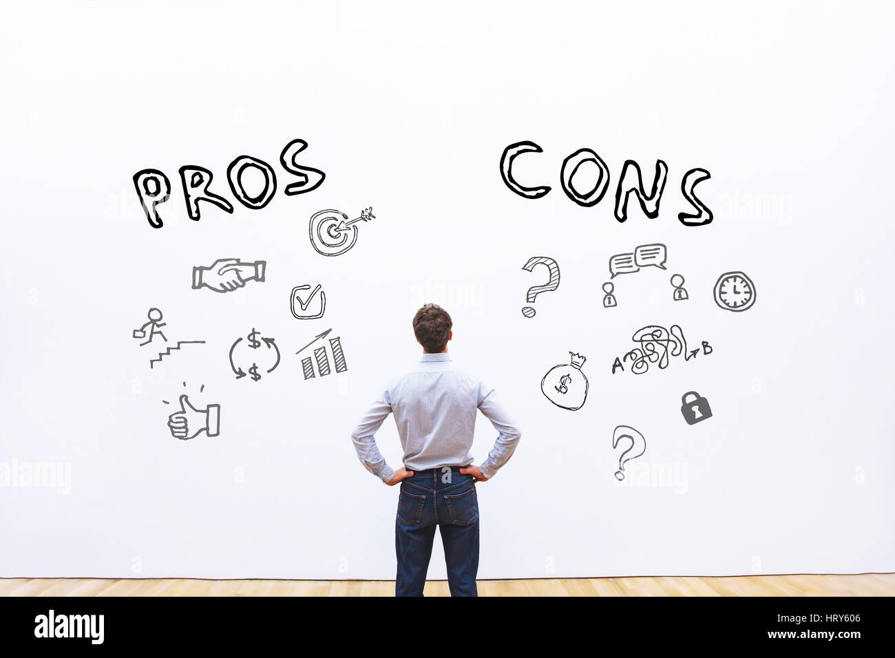 pros and cons, advantage disadvantage concept - Stock Image