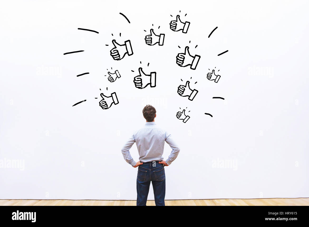 likes on social networks, positive customer feedback for business company, popularity concept - Stock Image