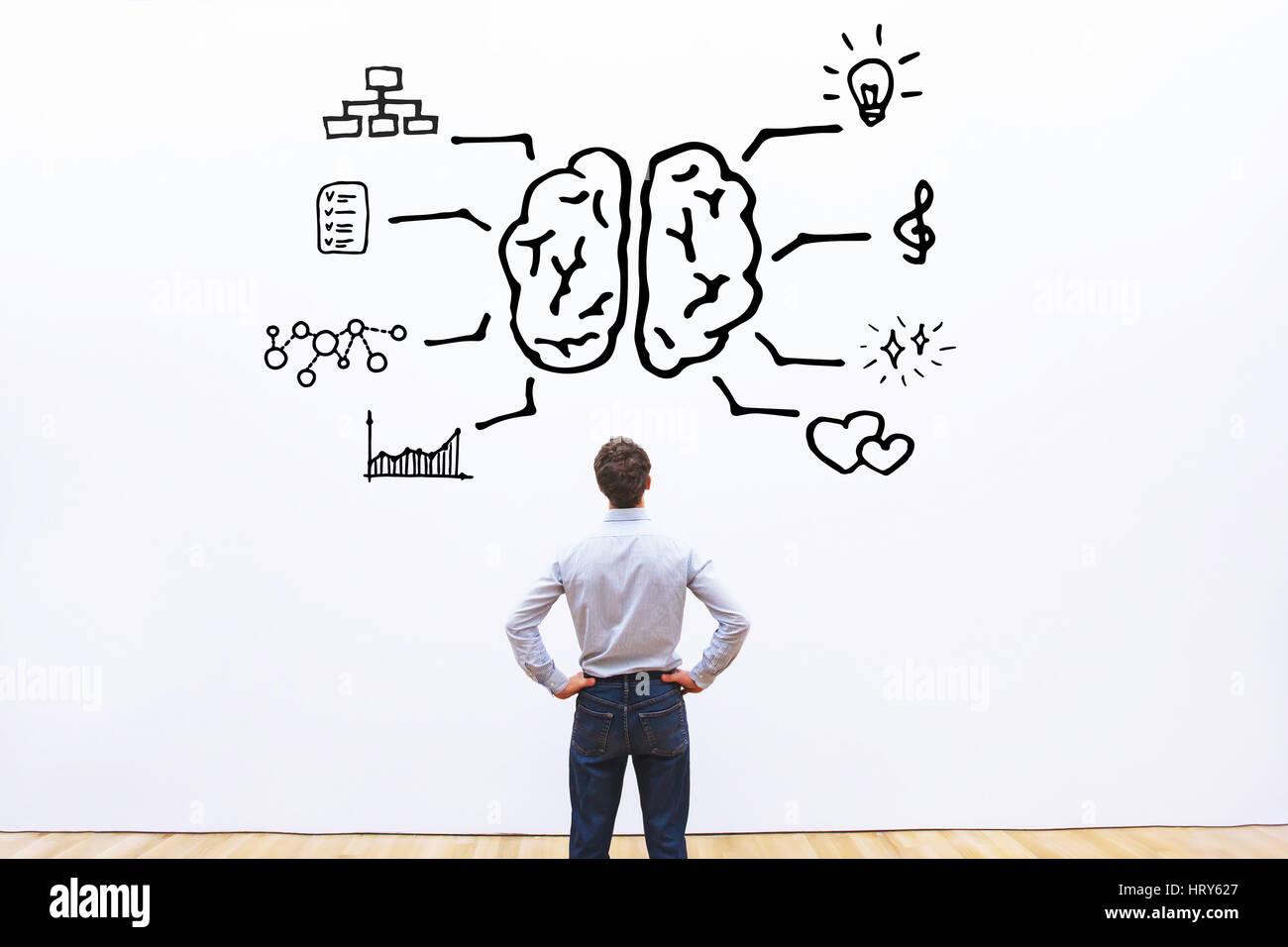 human brain right left concept - Stock Image