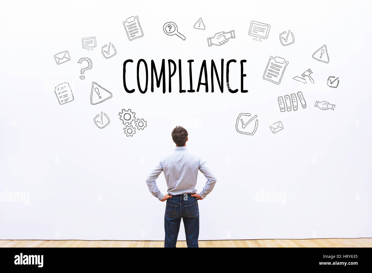 compliance concept on white background with scheme drawn icons - Stock Image