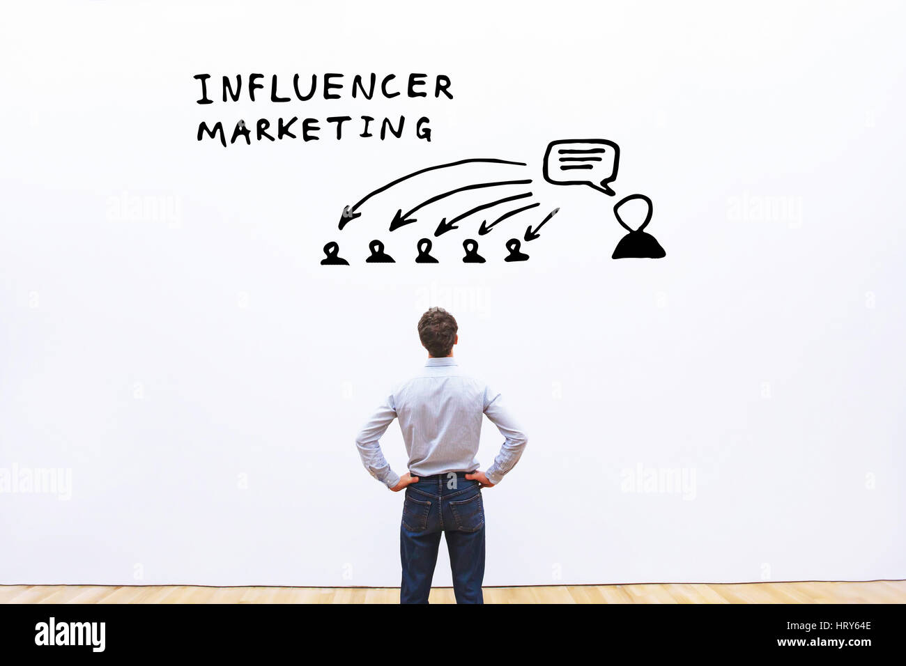 influencer marketing concept in business - Stock Image