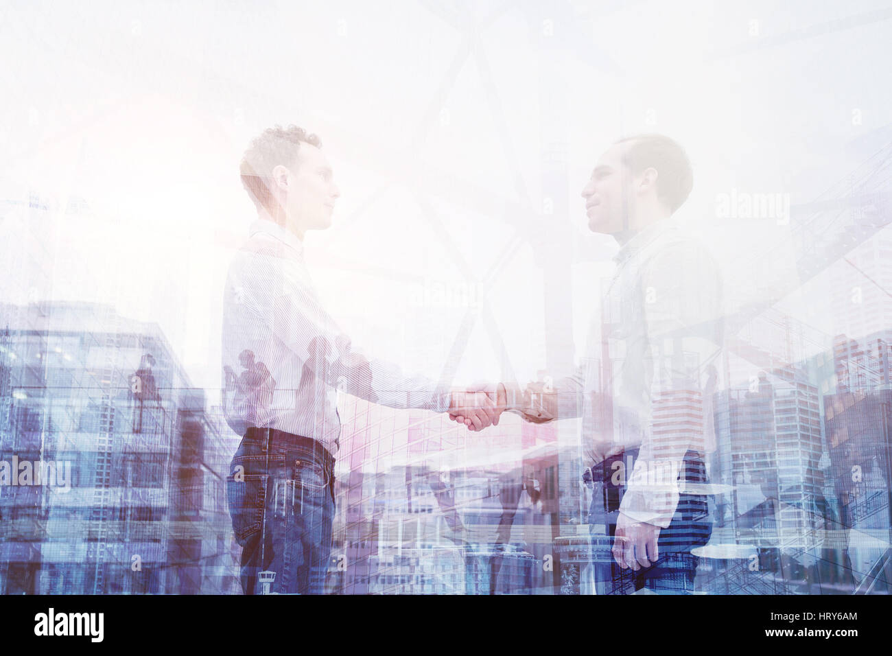 real estate deal, handshake double exposure, business people cooperation concept - Stock Image