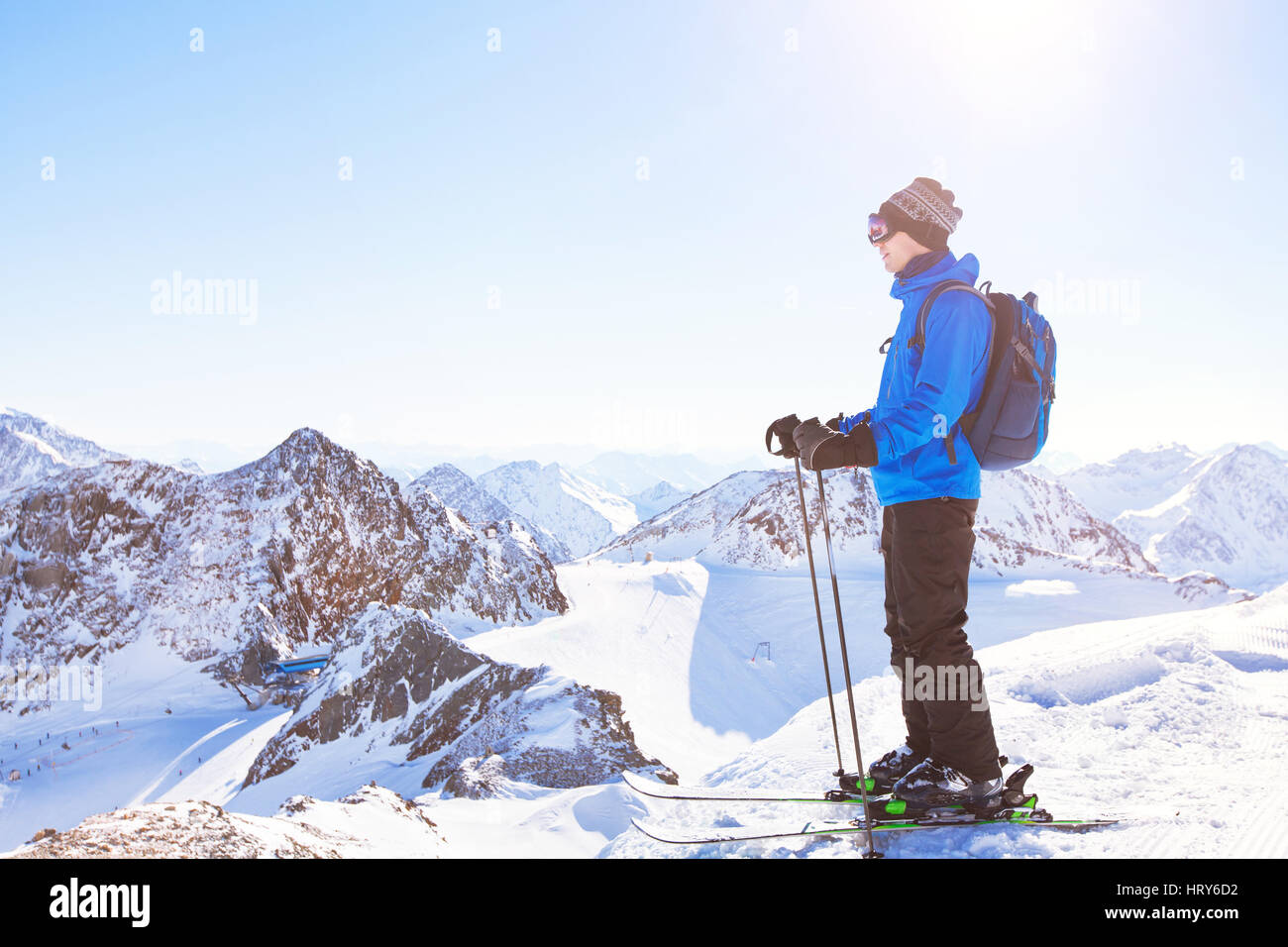 skiing background, skier in beautiful mountain landscape, winter holidays in Austria - Stock Image