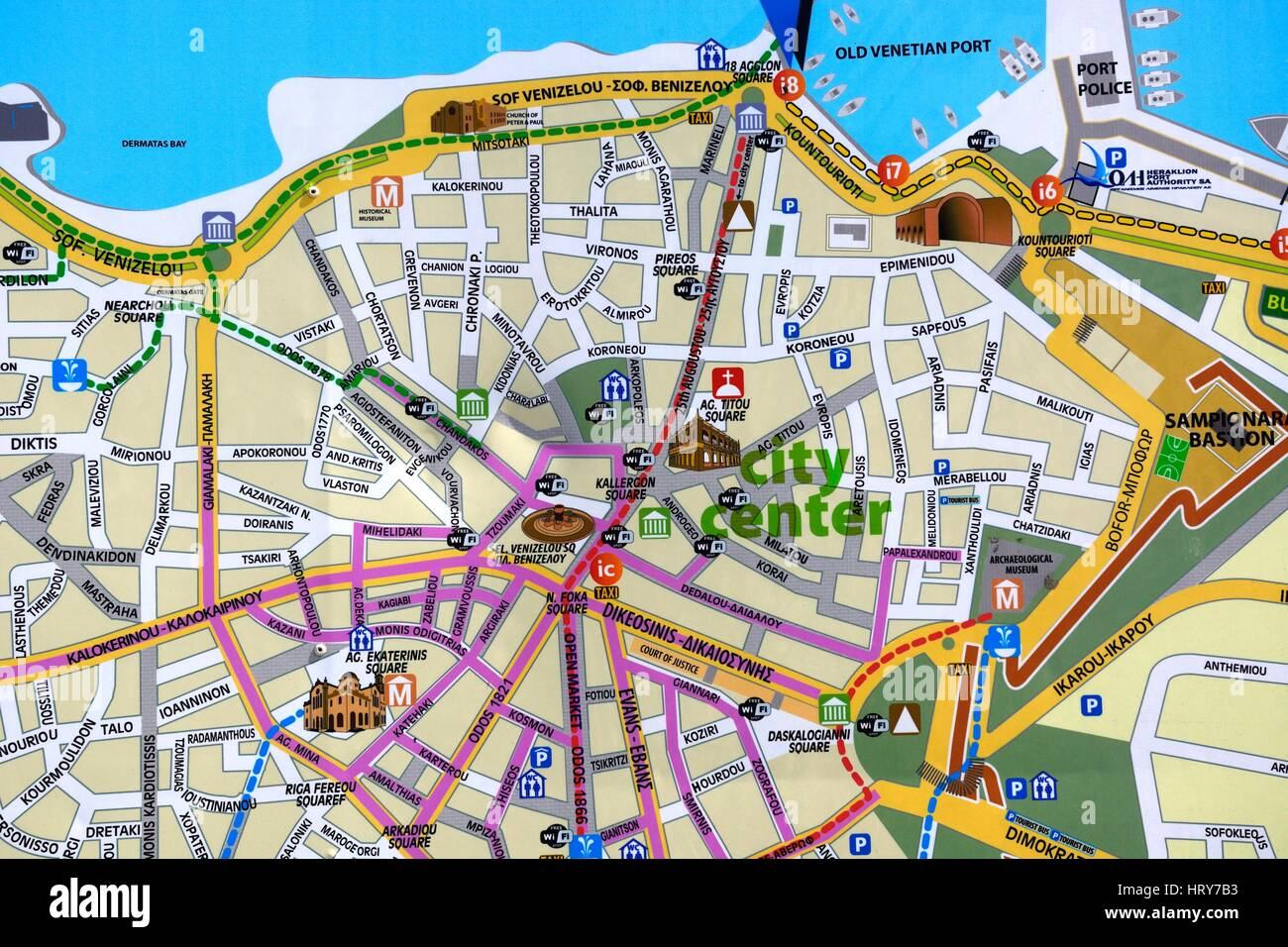 City centre town map showing tourist attractions Heraklion Crete