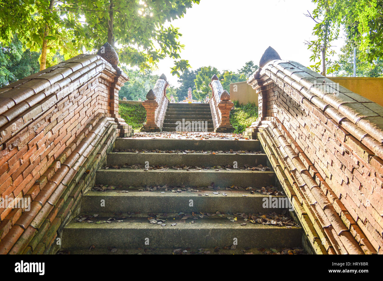 Chiang Rai, Thailand - October 1, 2016: Wat Phra That Doi Chom Thong. Stairway to Omphalos of the city - Stock Image