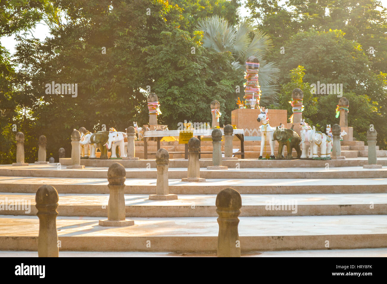 Chiang Rai, Thailand - October 1, 2016: Wat Phra That Doi Chom Thong. Sadu Mueang, the Navel or Omphalos of the - Stock Image