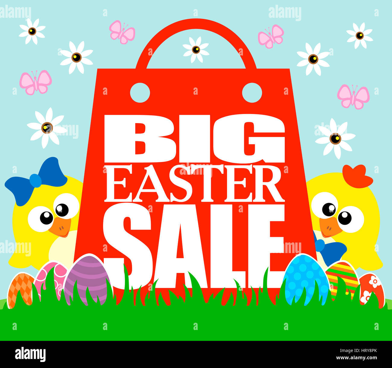 Big Easter Sale card, funny  chickens - Stock Image