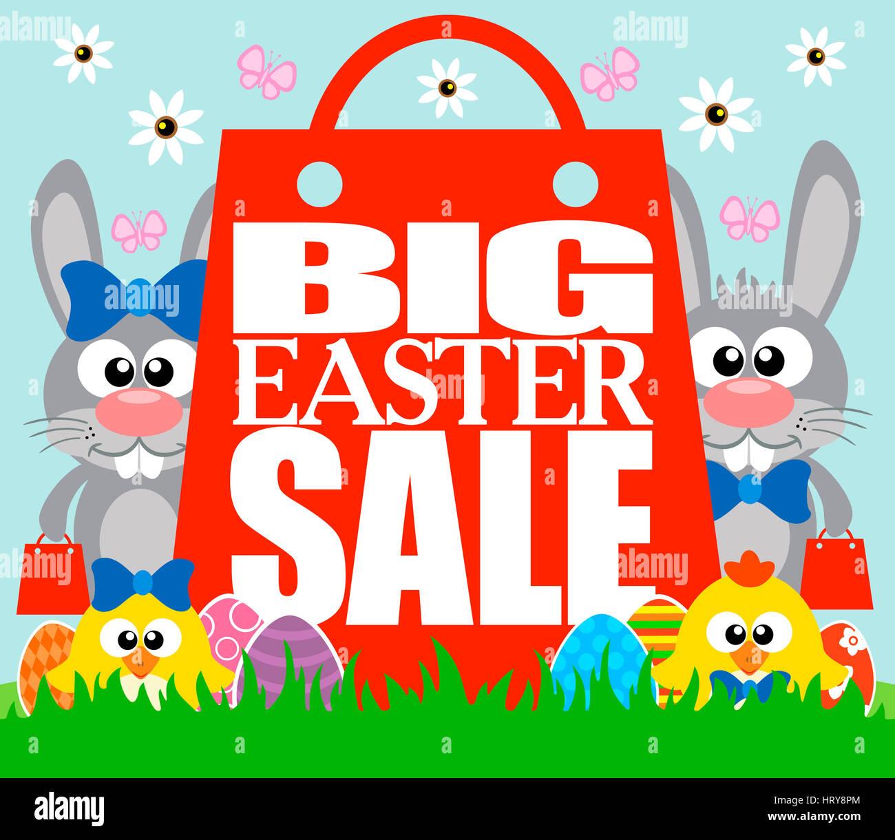 Big Easter Sale card with funny chickens and rabbits - Stock Image