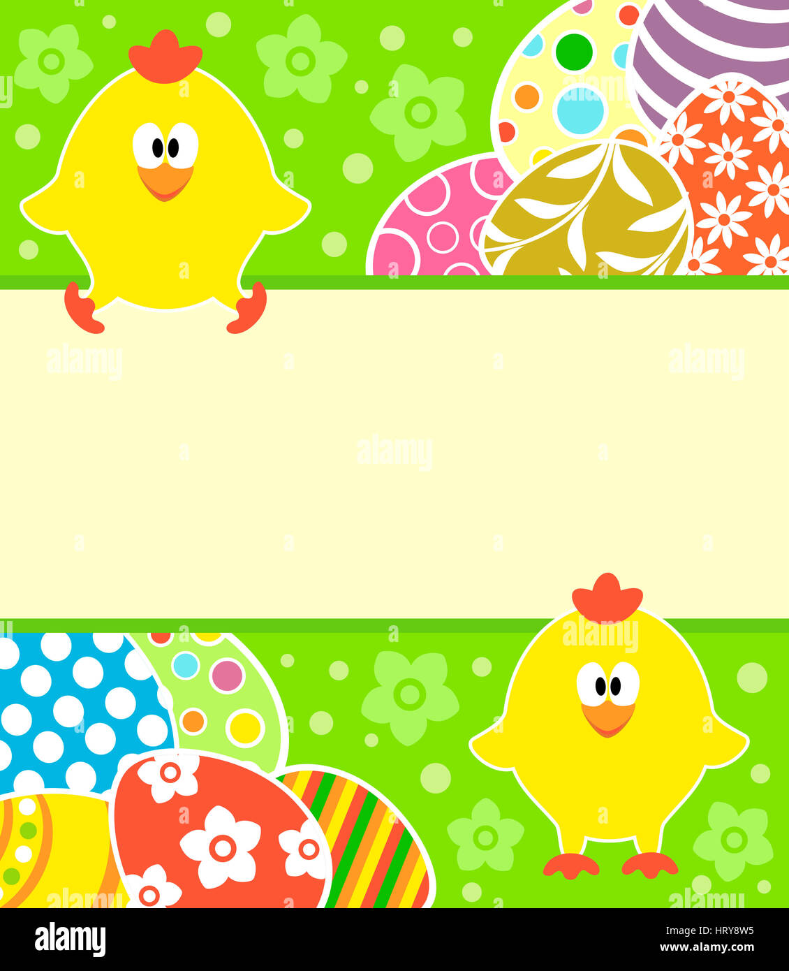 Easter background card with eggs and funny chickens - Stock Image