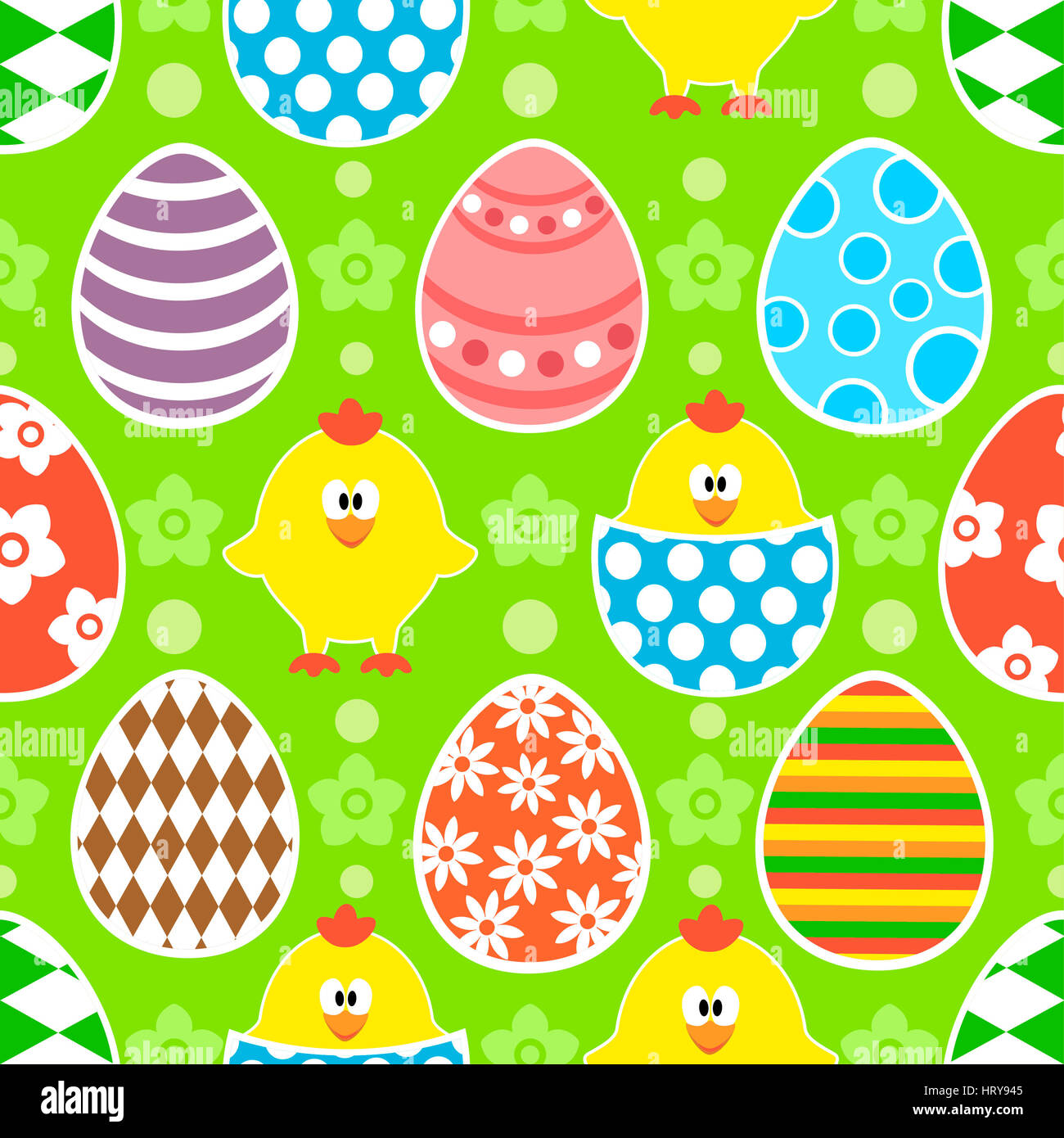 Easter seamless background with funny chickens - Stock Image