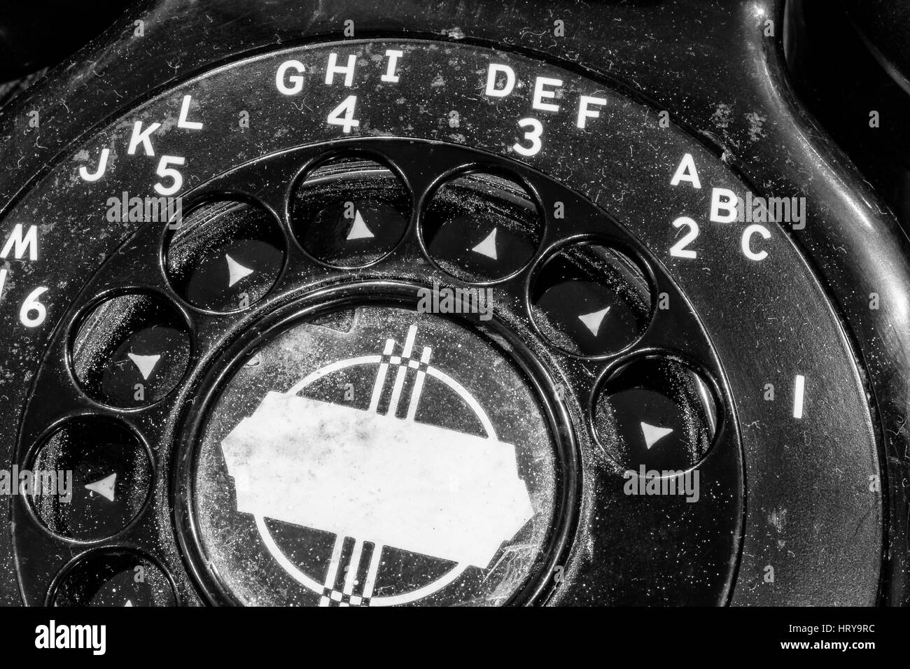 Old Art Deco Phone - Antique Rotary Dial Telephone I - Stock Image