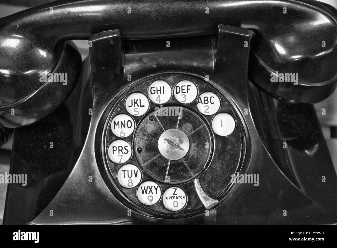 Old Phone - Antique Rotary Dial Telephone - Stock Image