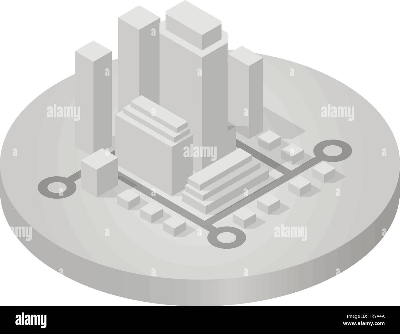 Isometric icon of city - Stock Image