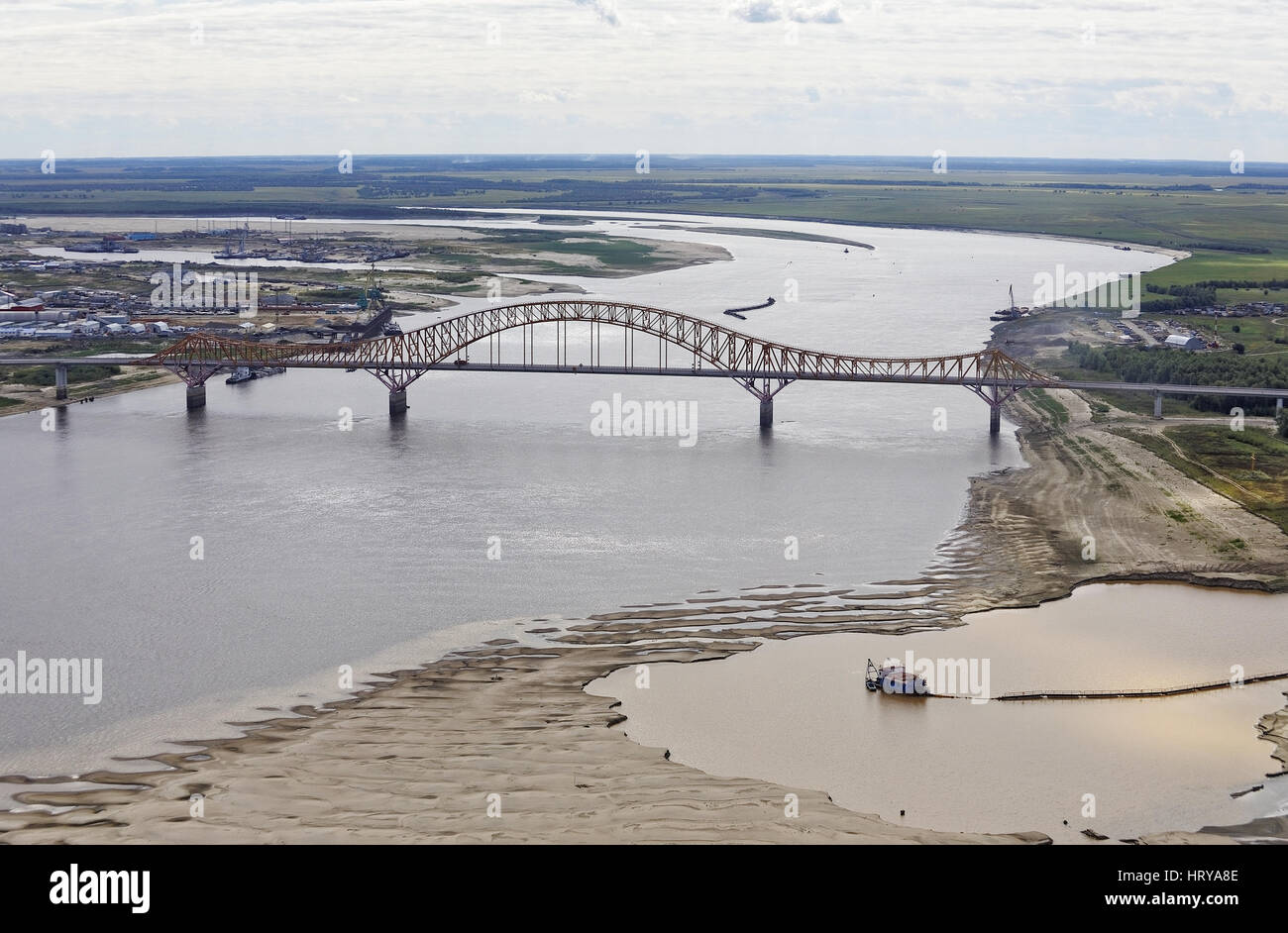 Russia,Khanty-Mansiysk, a top view of the bridge RED DRAGON over the Irtysh - Stock Image