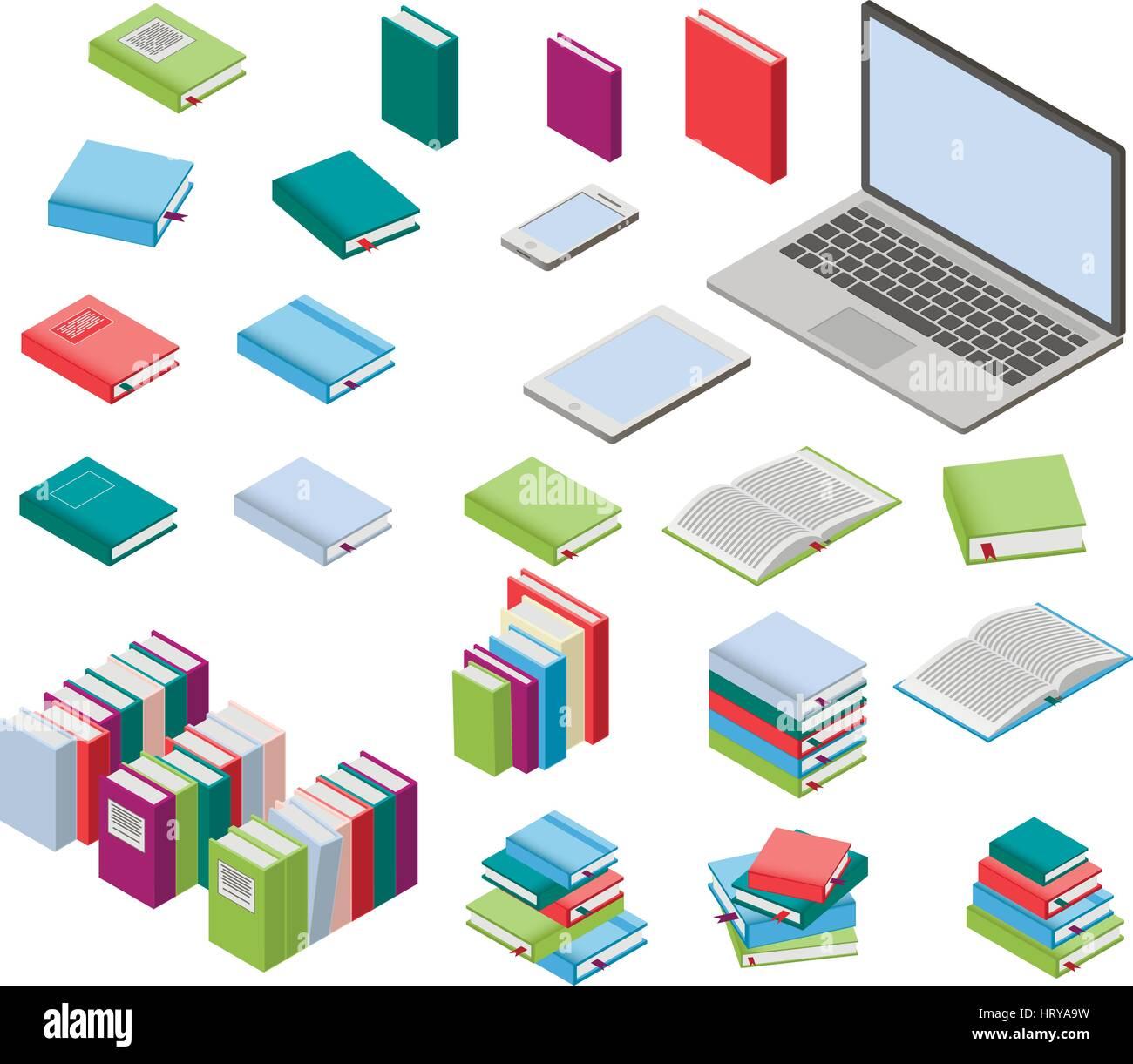 Isometric books and laptop set - Stock Image