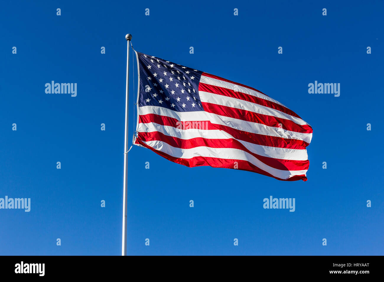 American Flag Waving in the Wind I - Stock Image