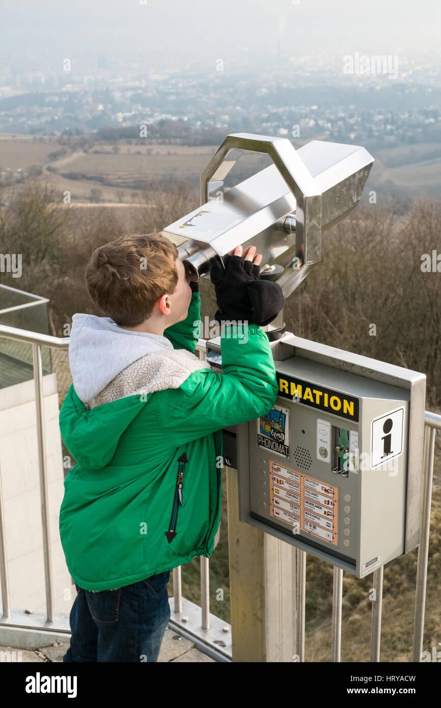 View point at Kahlenberg in 19th District of Vienna City part of the Wienerwald (Vienna woods), Vienna Austria. - Stock Image