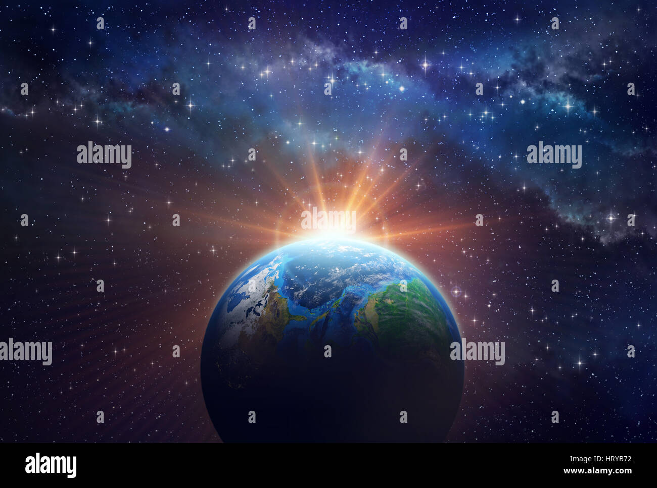 Illuminated face of a planet in outer space, a sunny light shining behind - Stock Image