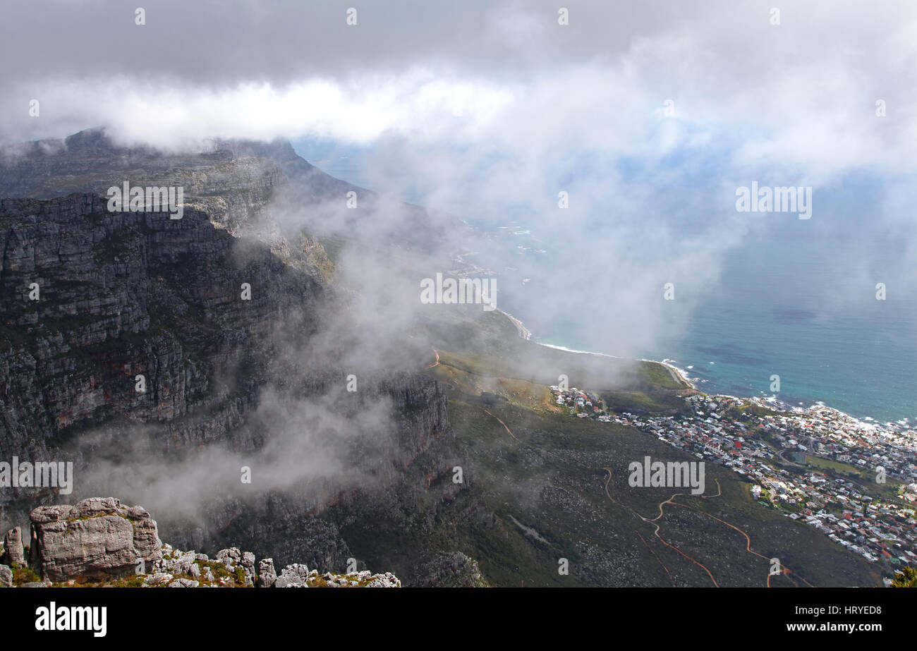 dark clouds, view from Table Mountain, Cape Town, South Africa - Stock Image