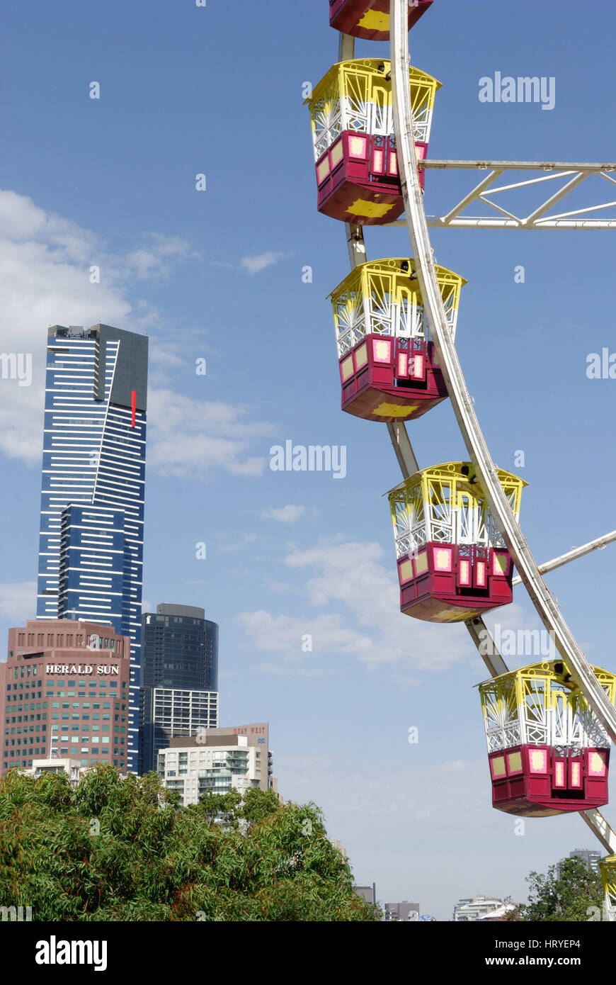 Big wheel at Birrarung Marr,Melbourne with the Eureka Building behind - Stock Image