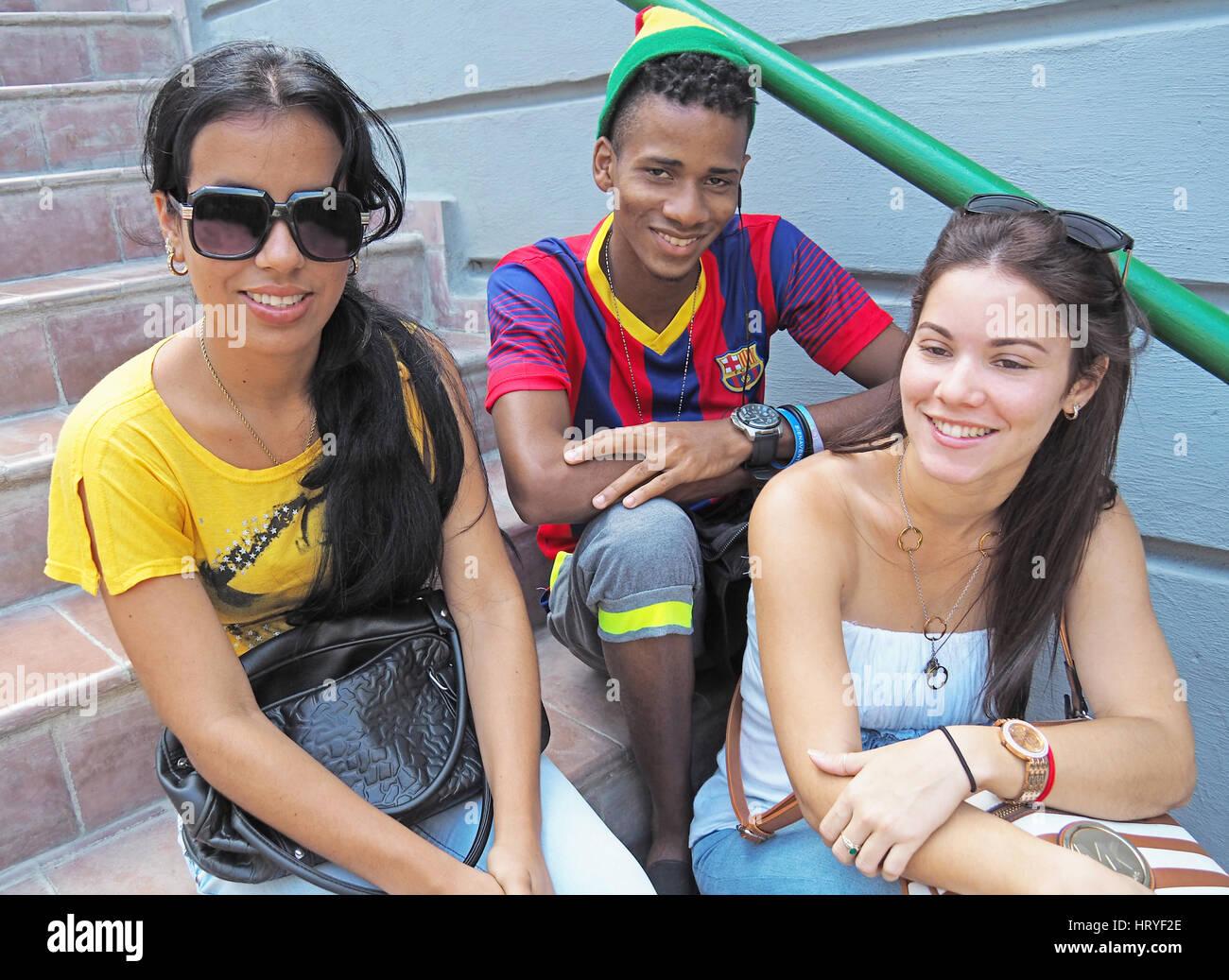 Racially diverse Cuban youth in Santiago de Cuba. - Stock Image