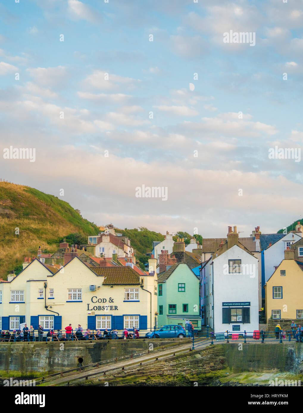Harbour front buildings at Staithes, North Yorkshire, UK. - Stock Image