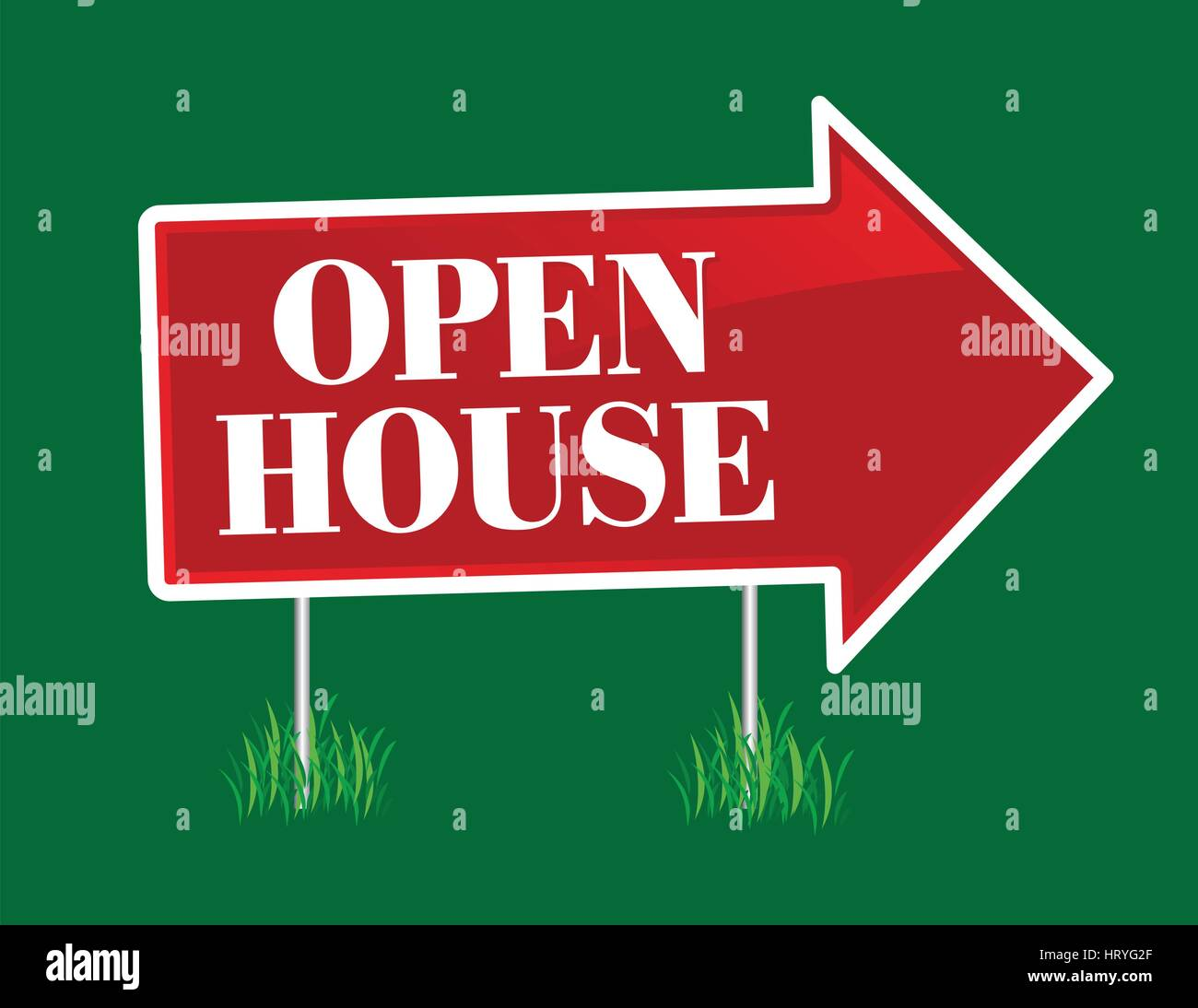 Red Vector Open House Real Estate Arrow Sign in Grass. - Stock Vector