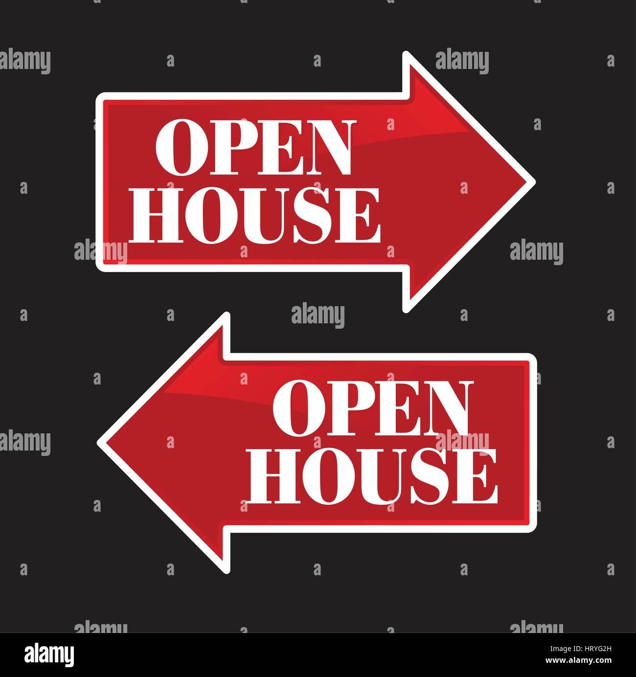 Open House Real Estate Arrow Signs. - Stock Vector