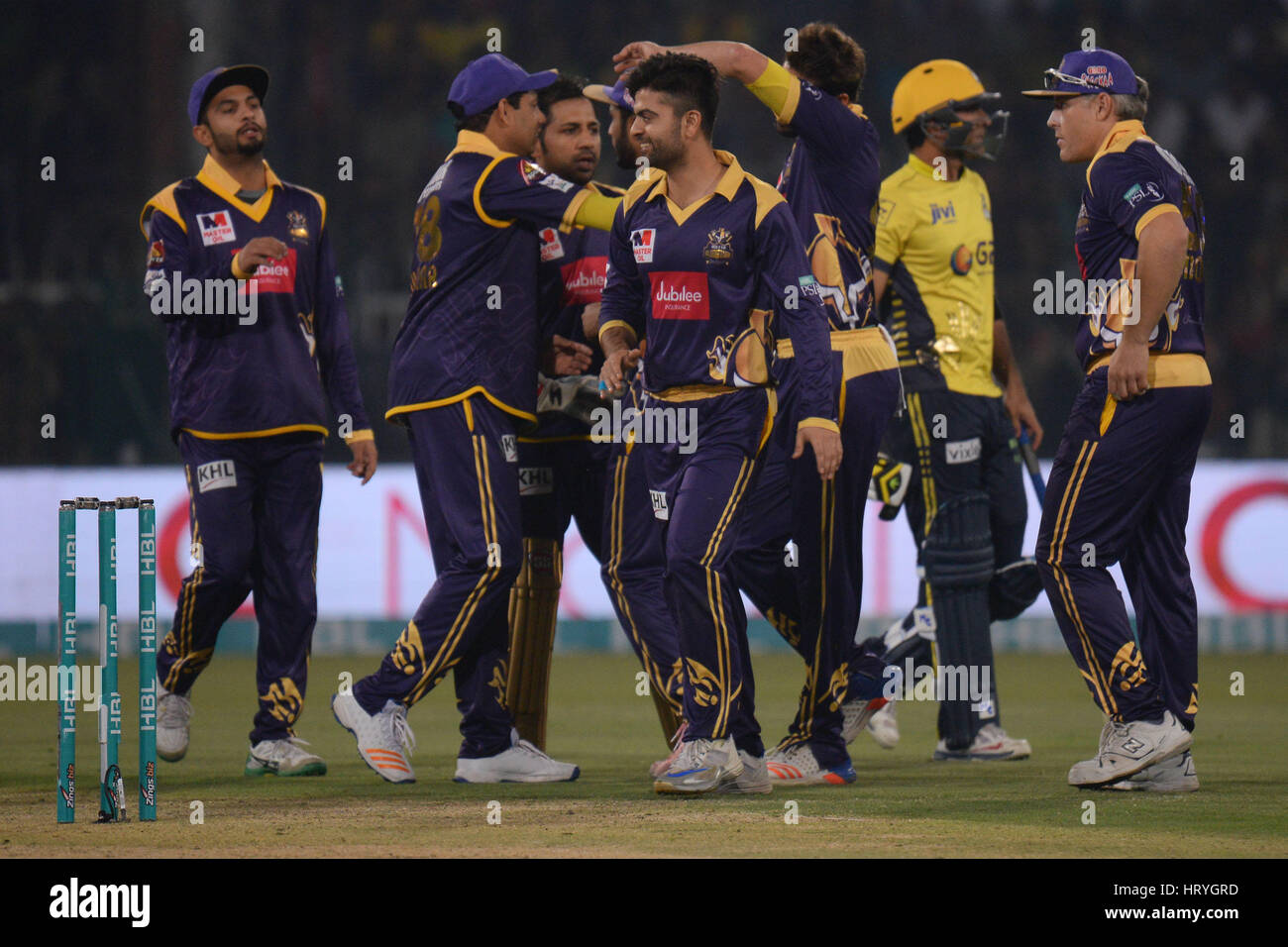 Lahore, Pakistan. 05th Mar, 2017. A view of the final cricket match Pakistan Super League (PSL) between Quetta Gladiators - Stock Image