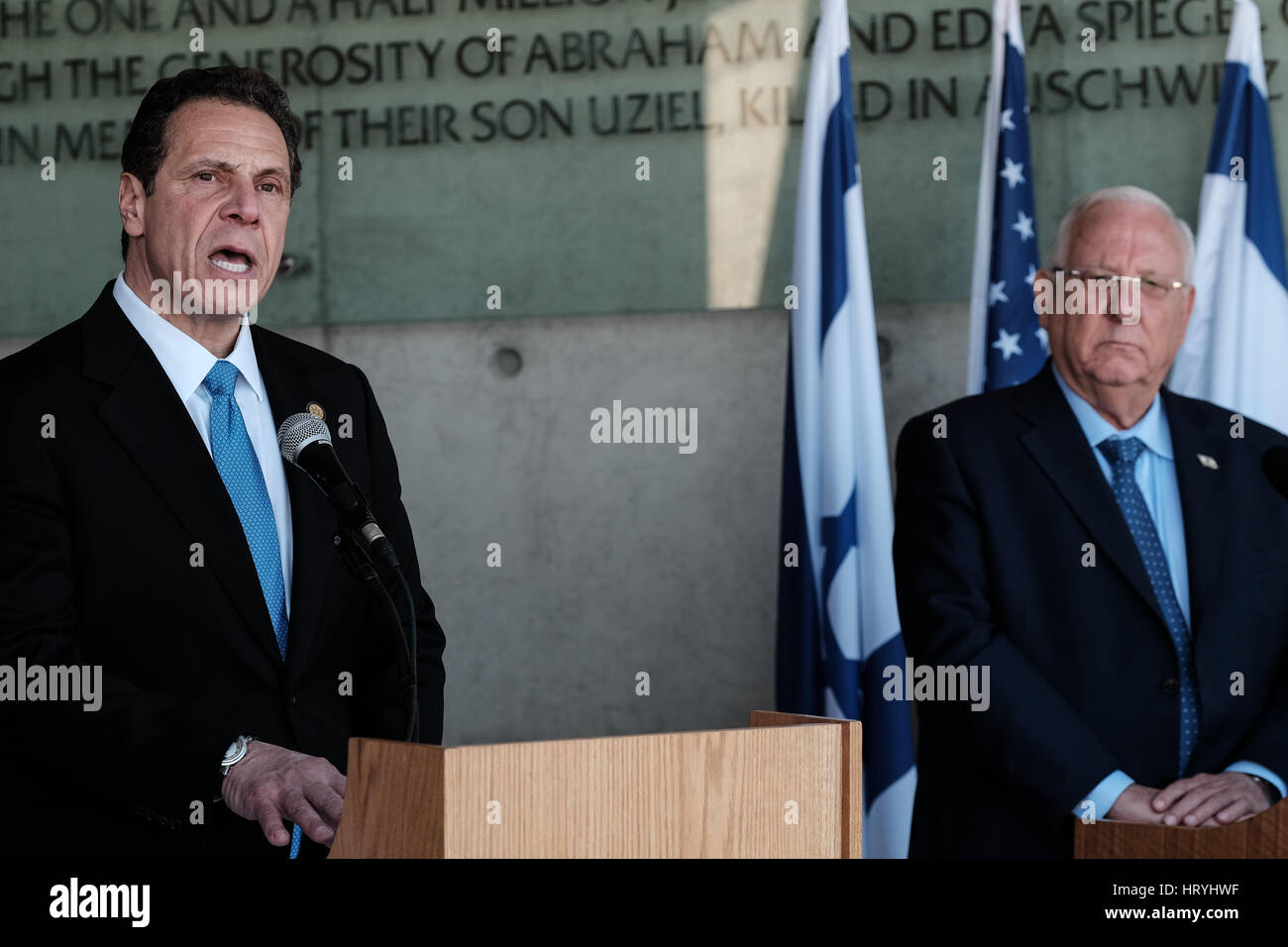 Jerusalem, Israel. 5th March, 2017. Governor of New York, ANDREW CUOMO, and the President of the State of Israel, - Stock Image
