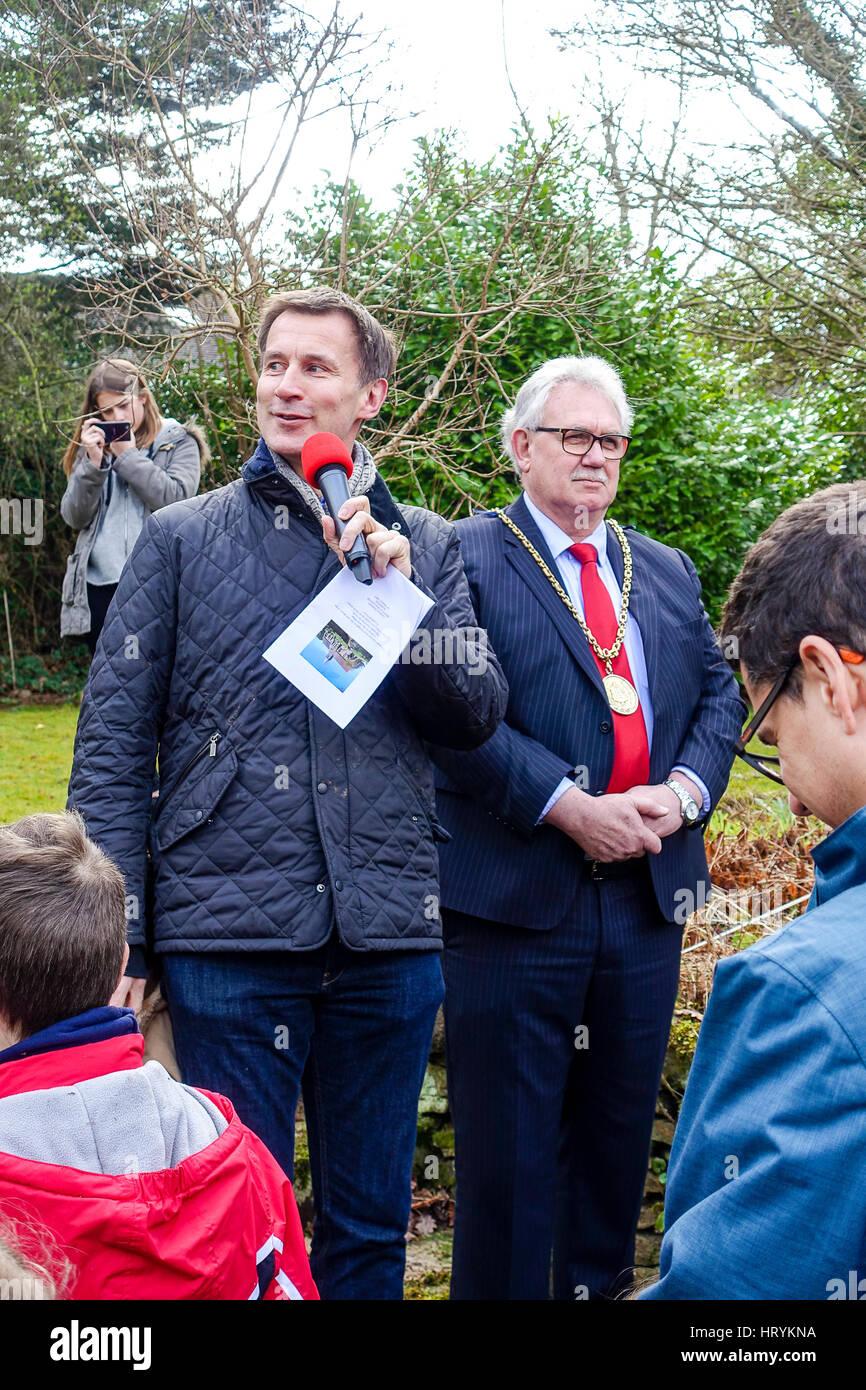 Hambledon Road, Godalming. 5th March 2017. Jeremy Hunt, Secretary of State for Health, giving a speech at the 150 - Stock Image