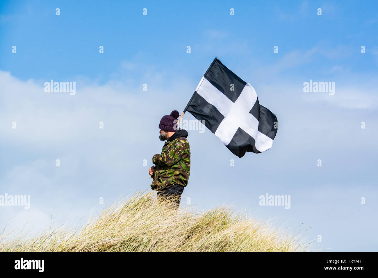 Perran Sands, Cornwall, UK. 5th March 2017. The annual St Pirans play telling the story of St Piran, the Patron - Stock Image